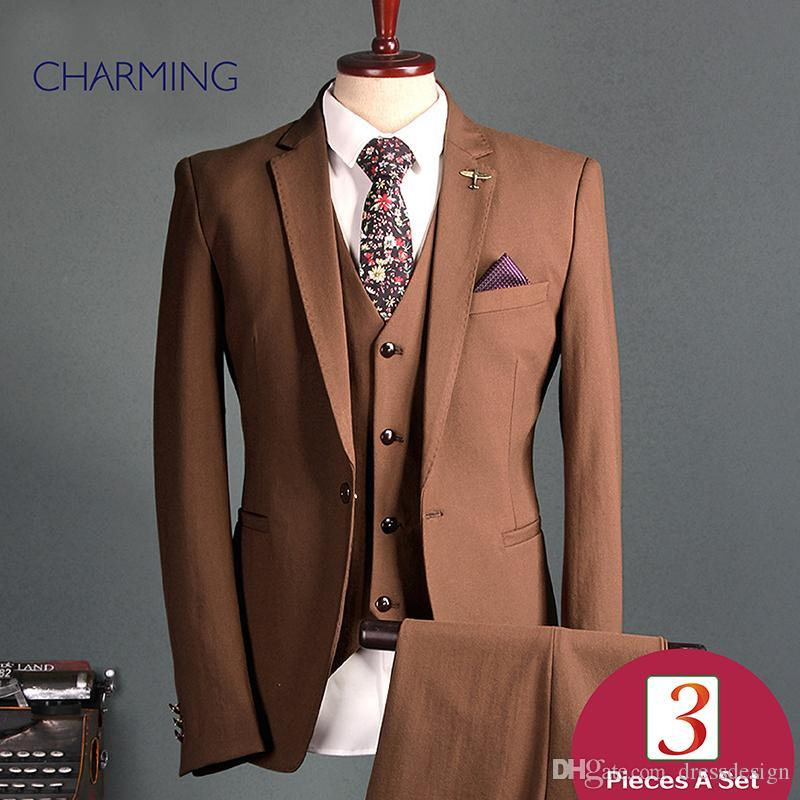 96d034aa06a64 Groom Suit Coffee Mens Three Piece Suit High Quality Fabric Of The Man Suit  Design Mens Business Suits Fashion Mens Black Waistcoat Mens Suit Separates  From ...