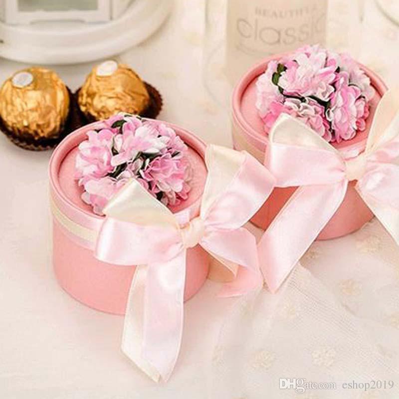 Luxe Européen Fleur Cylindrique Style Diamant Cristal De Mariage Boîte De Bonbons Avec Soie Ruban Wraps Cadeau