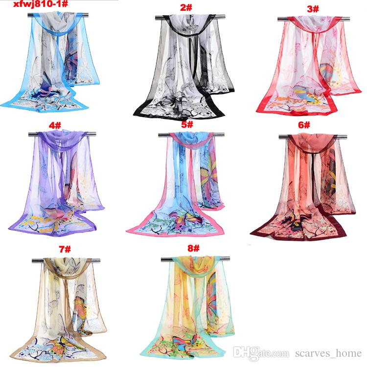 Factory Wholesale Woman Scarf Silk Brand Luxury Flower Butterfly Ladies Chiffon Scrawl Flower Printed Wrap Scarf Beach Cover 160*50cm