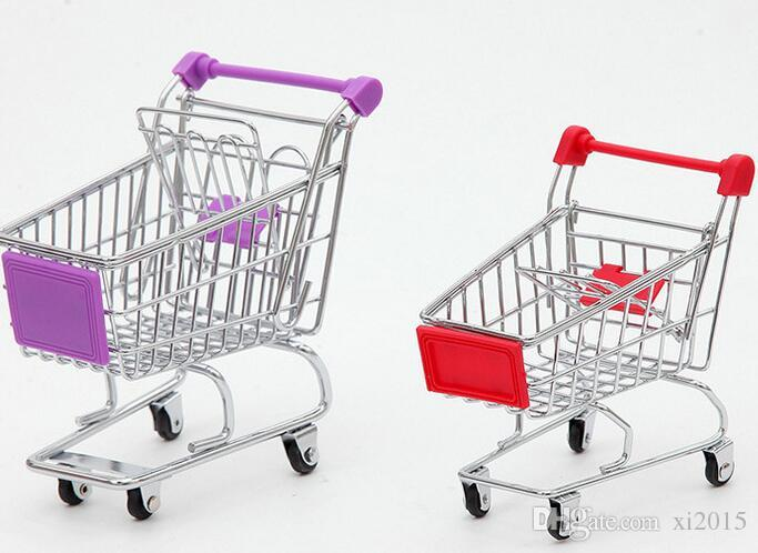 Free Shippng Fashion Mini Supermarket Hand Trolleys Mini Shopping Cart Desktop Decoration Storage Phone Holder Baby Toy