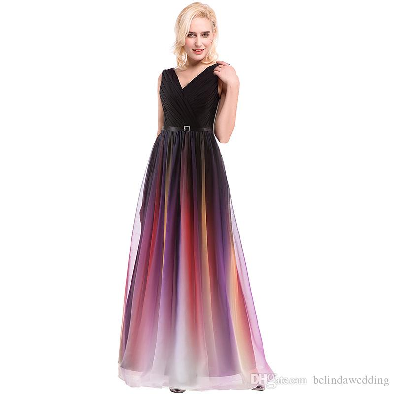 Ombre Wedding Gown: Ombre Formal Evening Gowns V Neck Evening Dresses Printed