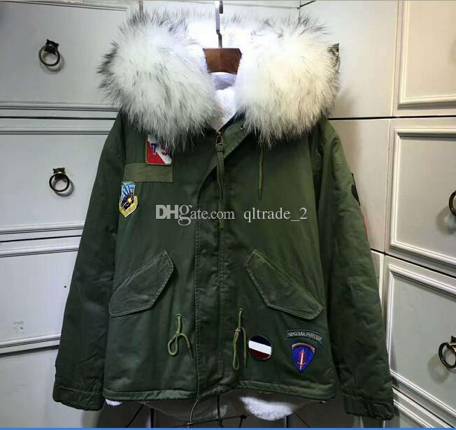 c09e9c819 Meifeng brand raccoon fur trim white rabbit fur lining army green mini  parka Patch Designs snow coats