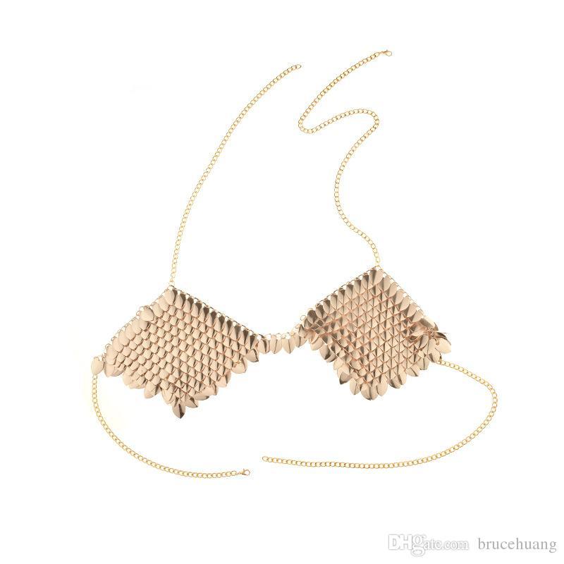 Nuova collana di maxi collana in metallo con catena a forma di cavità con reggiseno a foglia in acciaio sexy personalizzata