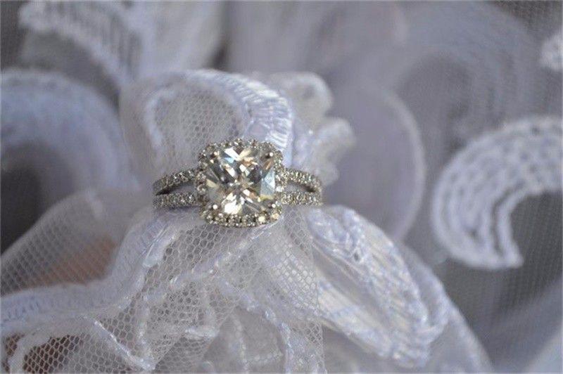 8mm CZ 다이아몬드 약혼 반지를 가진 여자를위한 YHAMNI 본래 패션 쥬얼리 925 스털링 실버 결혼 반지 도매 J29HG