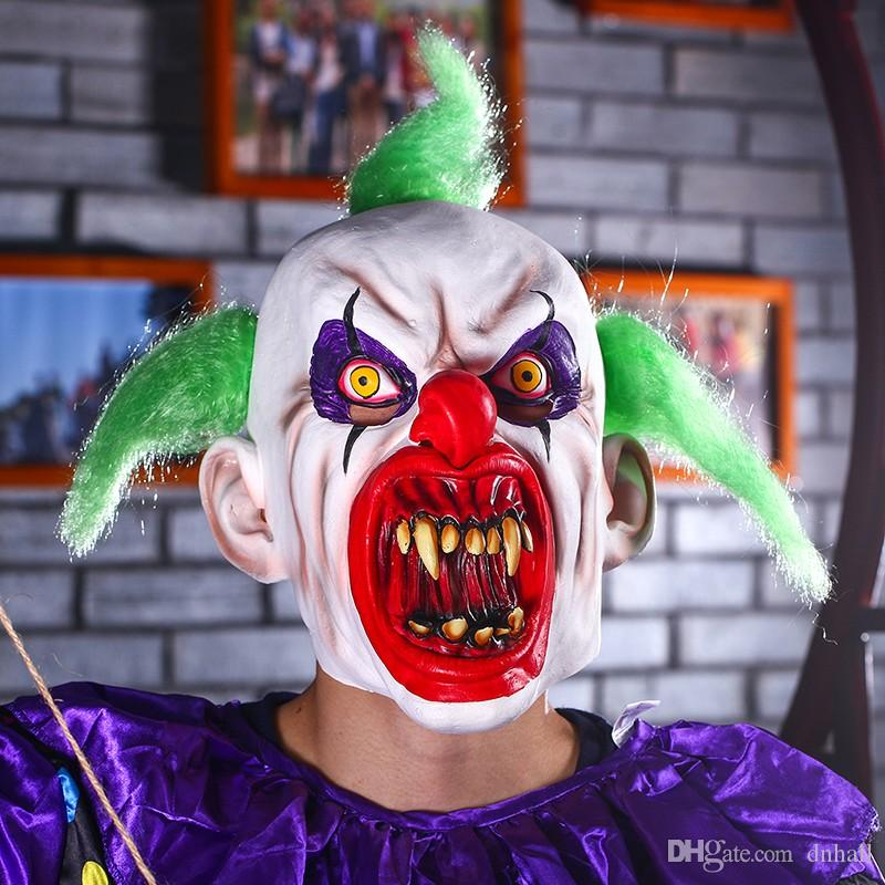 scary clown mask green hair buck teeth full face horror masquerade adult ghost party mask halloween props costumes fancy dress green masquerade masks half