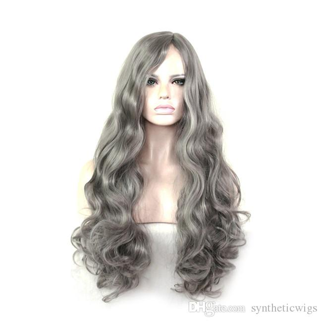 WoodFestival lange wellenförmige Perücke grau Cosplay Hochtemperatur Perücke synthetische lockige Faser Perücken natürliche Lolital Haar Perücken Durchschnittliche Größe 70cm