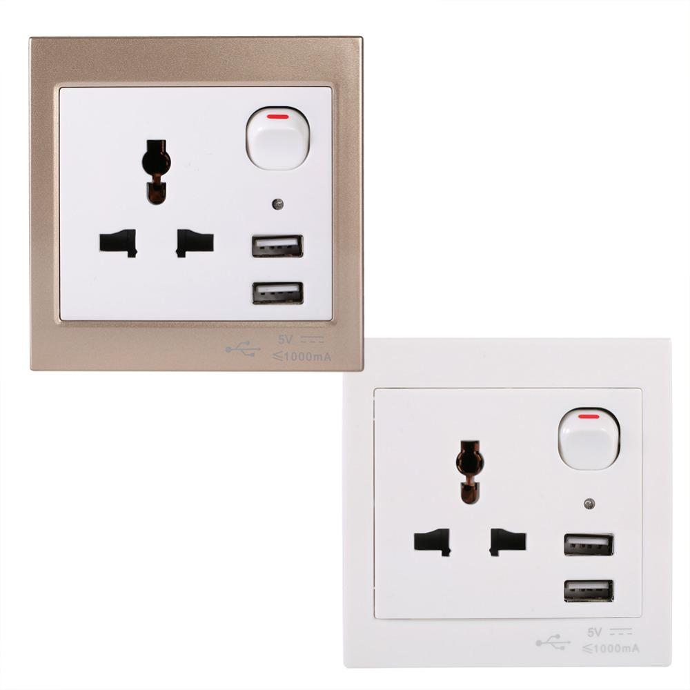 New Ac 110 250v Dual Usb Port Electric Wall Charger Socket Adapter ...