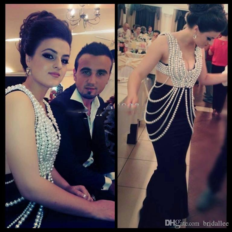Custom Made 2017 Prom Dresses Pearls Plus Size Formal dresses Black Lace Mermaid Evening Gowns Cut Out Prom Dress