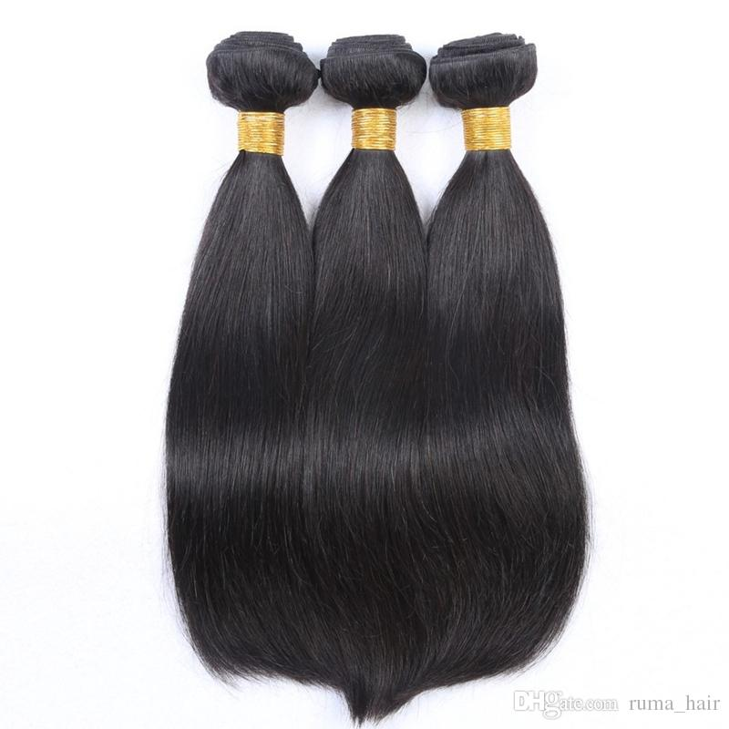 Ruma Hair Natural Color 3 Bundles Same Length Unprocessed Straight Hair Can Be Curled and dyed Shiny Human Hair Weaves