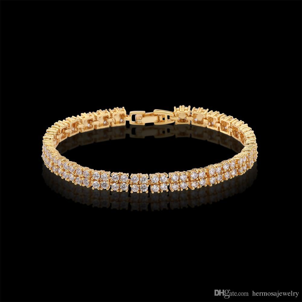 "Yellow Gold Tennis Bracelet Diamond Shiny Rhinestone Natural White Topaz Cubic Zirconia Wedding Gifts 7""inch BSL0000032"