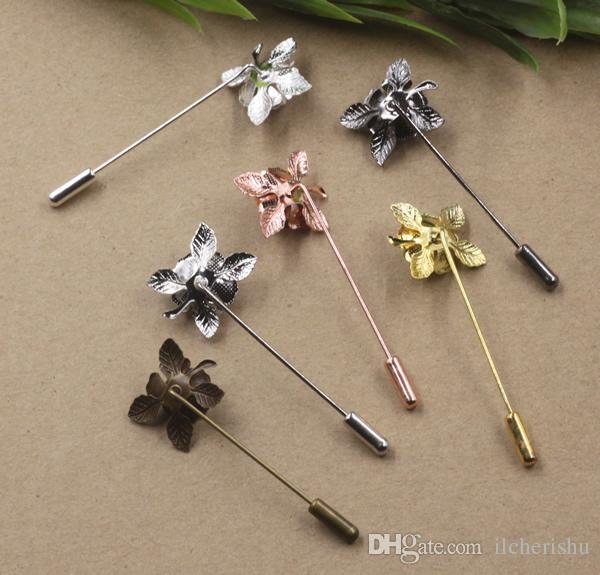 20 * 25 мм серебро розовое золото античная бронза медь металл цветок отворотом pin для мужчин костюмы, diy мода знак длинные брошь палку pin свадебные украшения