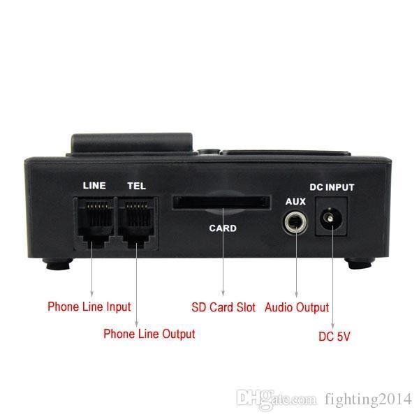 Mini Teléfono digital Grabadora de voz Monitor de llamadas telefónicas con pantalla LCD Función de reloj Soporte para tarjeta SD Dictáfono Registrador de teléfono
