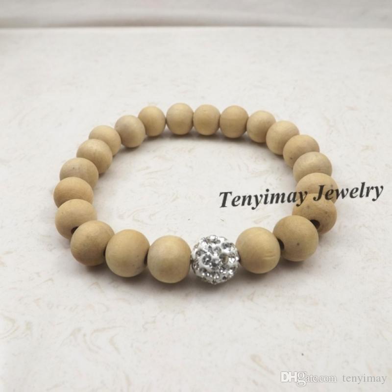 Stretchy 10mm Original Color Wood Beaded Bracelet
