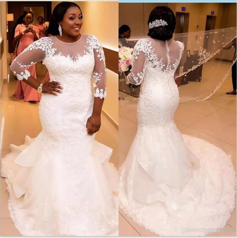 3bb78ede7 Beautiful Scoop Mermaid Sheer Wedding Dresses 3/4 Long Sleeve Tulle Lace  Country Applique 2018 Bridal Gown Train Church Bride Dress Custom Mermaid  Wedding ...