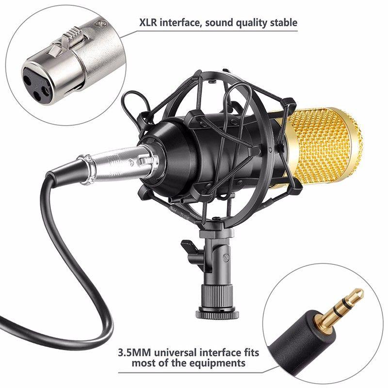 Al por mayor Nueva BM-800 bm800 micrófono de condensador de la grabación de sonido Micrófono Con montaje de choque Radio Braodcasting micrófono para PC de escritorio