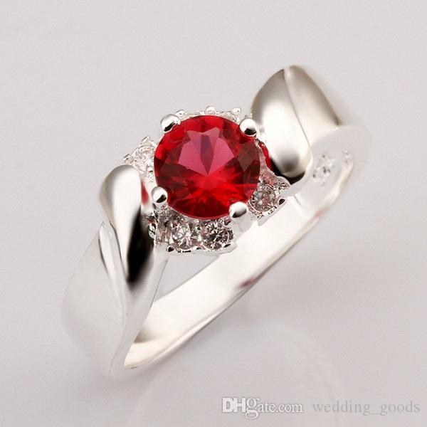 Mode-Design Rubin Form Silberschmuck Ring für Frauen WR367, rot Art und Weise Edelstein 925 Silber Trauringe