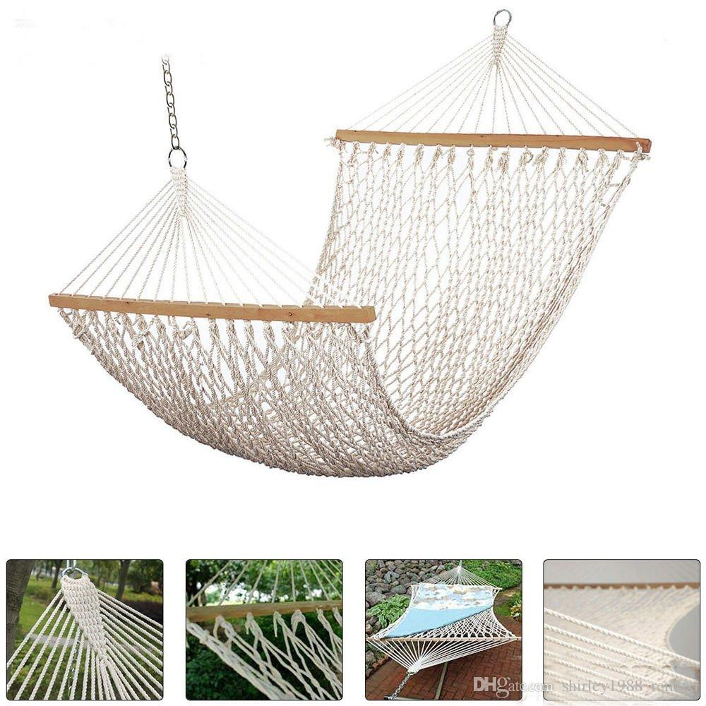 Medium image of 2018 2 person cotton rope hammock with spreader bars natural 500 pound capacity from shirley1988 remaxi  24 11   dhgate