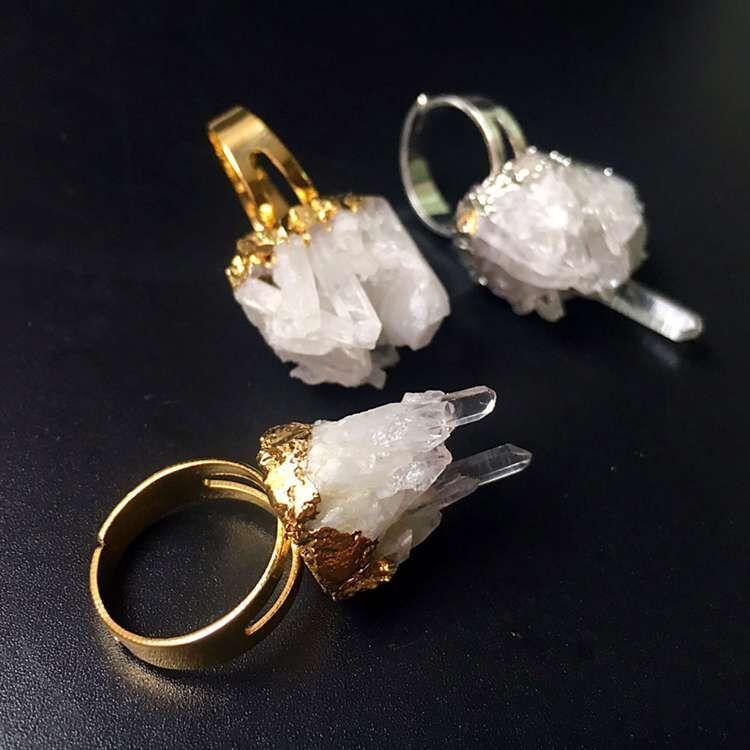 Natural Gemstone Crystal Druzy Cluster Ring, Gold Silver Raw Amethyst Citrine Healing Stone Quartz Rough Glittery Irregular Adjustable Rings