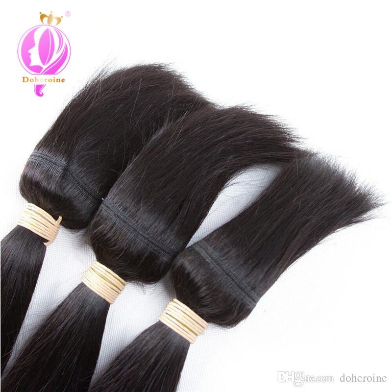 Doheroine Braid In Human Hair Bundles Body Wave & Straight Human Hair Bundles With Lace Closure Brazilian Virgin Hair Extension Wholesale