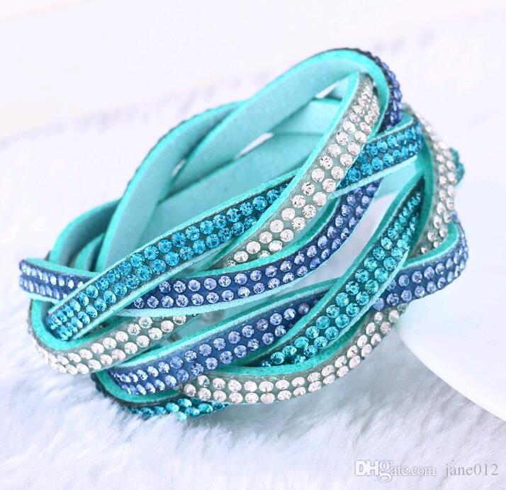 Yeni Varış Tasarım Moda Charm Bilezikler Katmanlı Kristal Rhinestones Kadınlar için Wrap Örgü Deri Bilezik moda takı Toptan