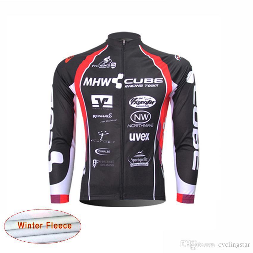 CUBE Tour de france maillot cycliste Hommes hiver Thermique Polaire vélo veste Vélo Vêtements Sportswear manches longues maillot ropa ciclismo B2504