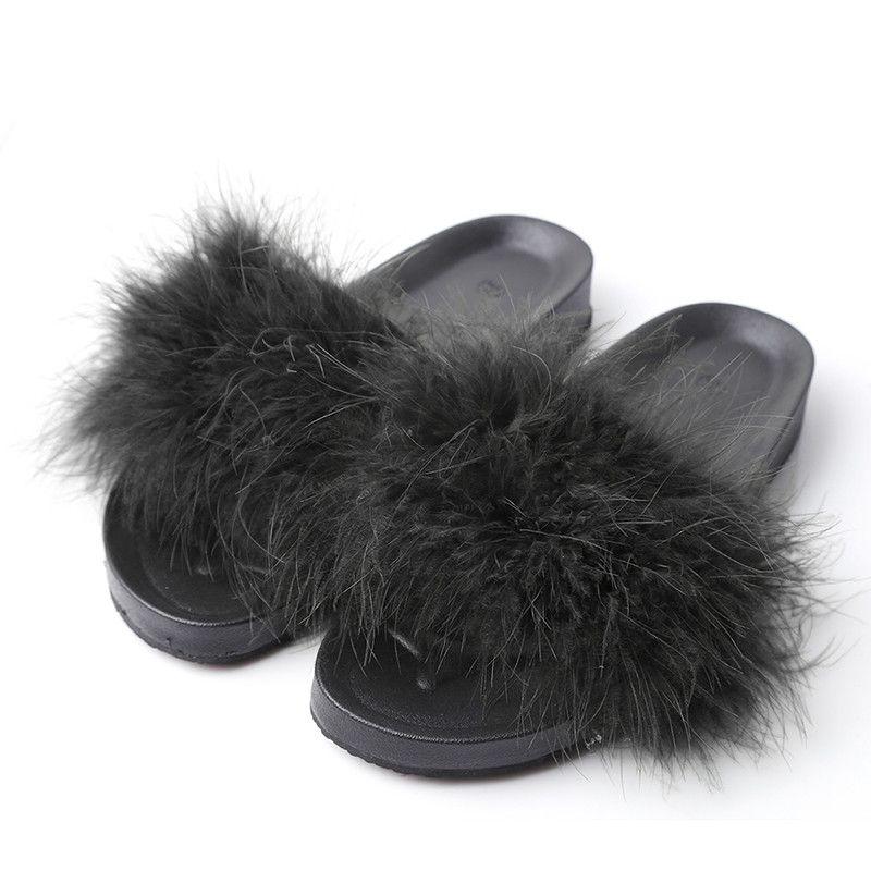 Women Fur Slippers Furry Slide Ostrich Feather Home Slippers Fashion Flip  Flops Beach Sandals Summer Women Flats Home Shoes Knee High Boots Womens  Shoes ... 9340abd1d4