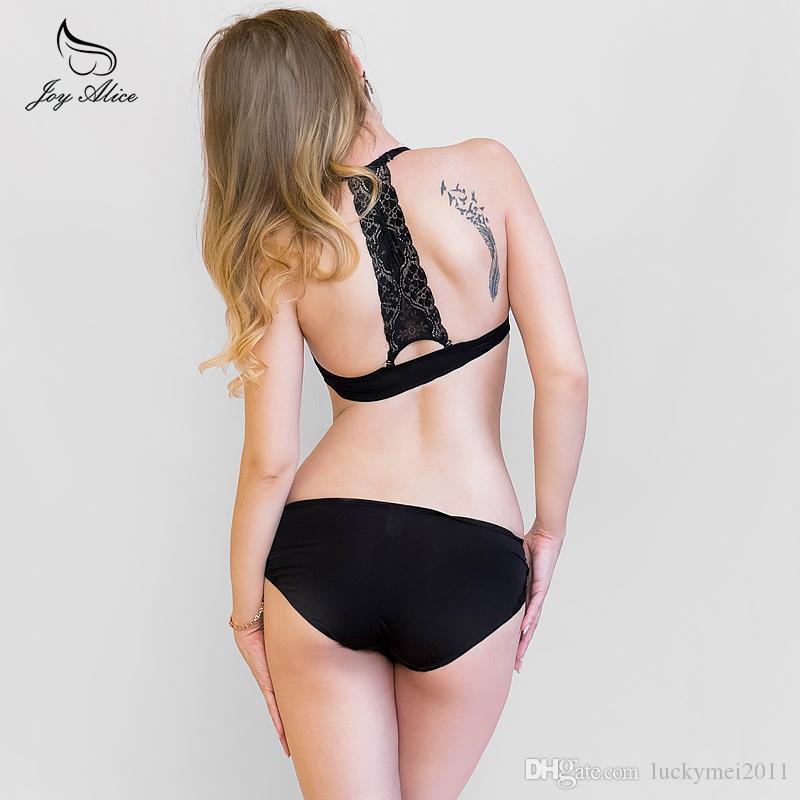 Backless Sutyen külot seti Dantel Ön Kapatma Sutyen Ile Set Push Up Y-line Sapanlar Bayanlar İç İç kadın Sutyen