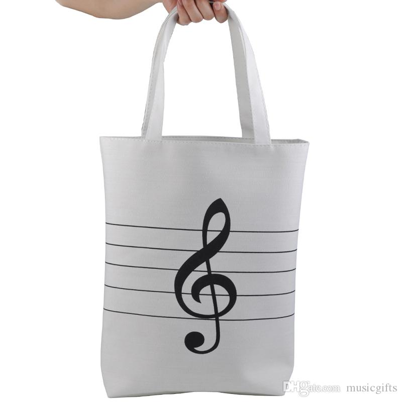 Large Capacity Women's Girls' Music Symbols Print Canvas Tote Shopping Handbags Shoulder Bags White