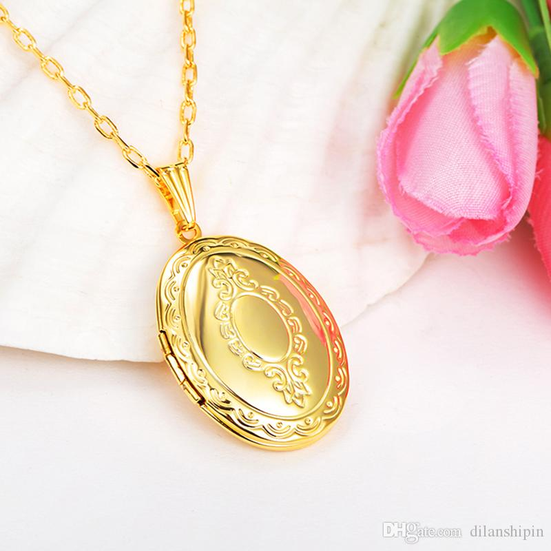 Fashion Wholesale Jewelry Copper Oval Box Charm Lockets Necklace 18k gold plated Photo Locket Frame Pendant Necklace For women Girls gifts