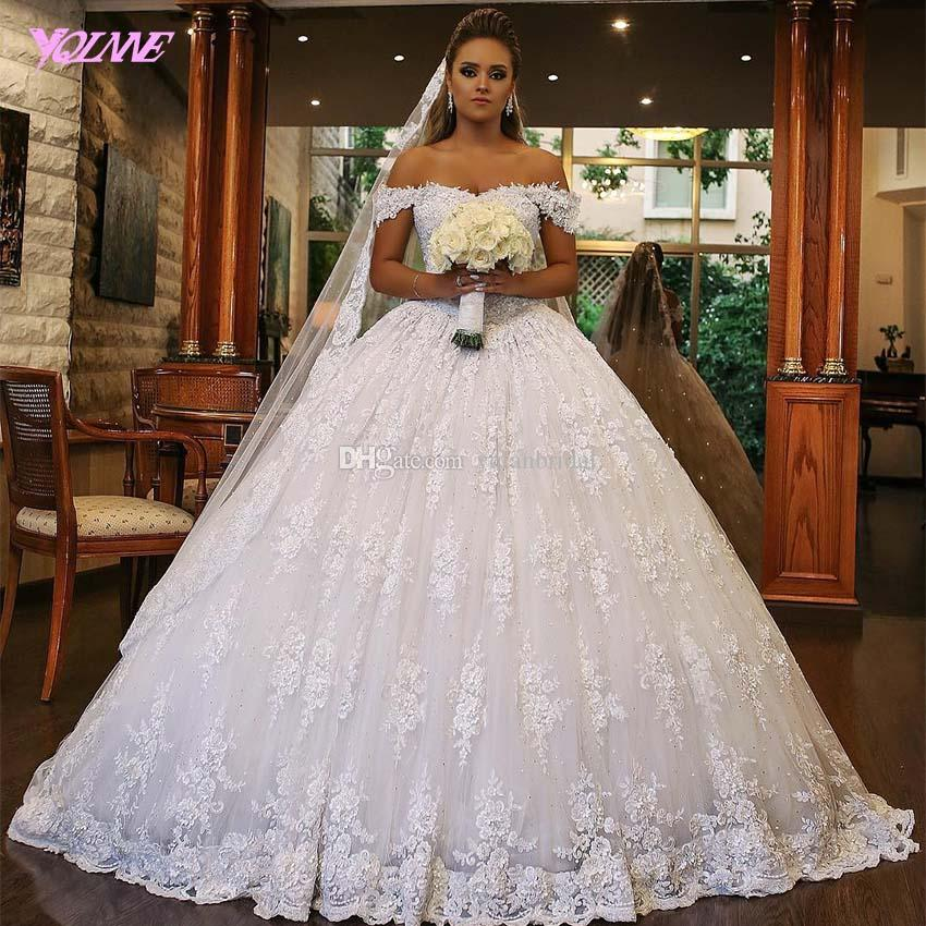 2018 Off Shoulder Wedding Dress Ball Gown Ivory Lace Tulle