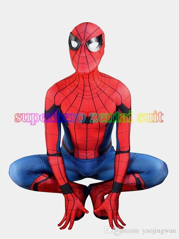 3D Print 2017 New Spider-man Homecoming Spandex Zentai Costume Civil War Spiderman Costumes Spidey Cosplay Custom Movies Suit Free Shipping