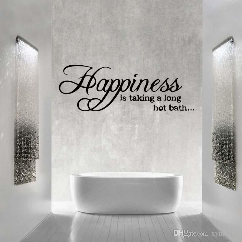 happiness is taking a long hot bath wall sticker quote removable bathroom vinyl decals