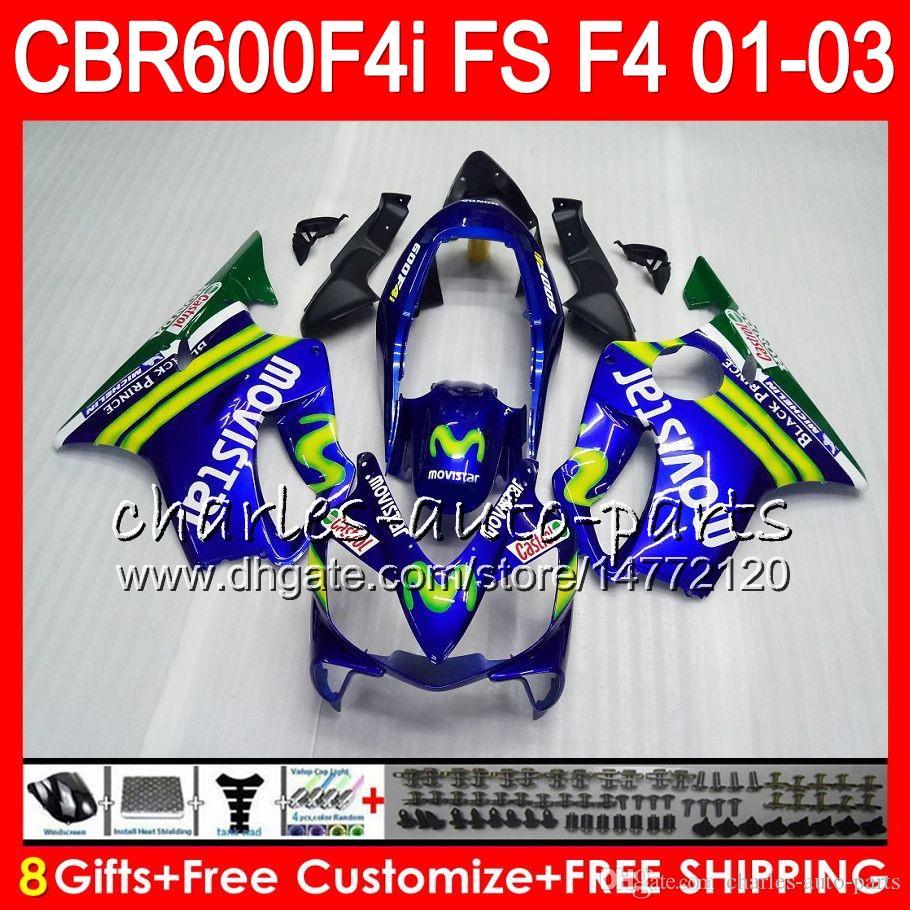 8Gifts 23 kleuren voor HONDA CBR 600 F4I 01-03 CBR600FS FS 28HM3 CBR600 MOVISTAR BLUE F4I 2001 2002 2003 CBR 600F4I CBR600F4I 01 02 03 FUNLING