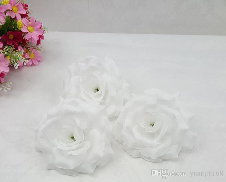 Krem Fildişi 100p Yapay İpek Camellia Gül Şakayık Çiçek Başlı 7--8cm Ev partisi dekorasyon çiçek kafa