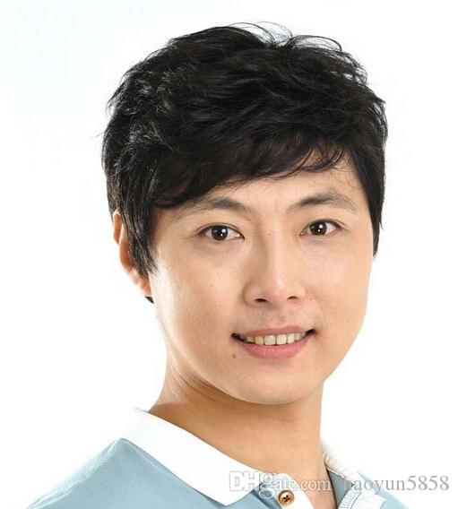 Short Hair Men Synthetic Hair Extensions Male Wig Middle Aged Man