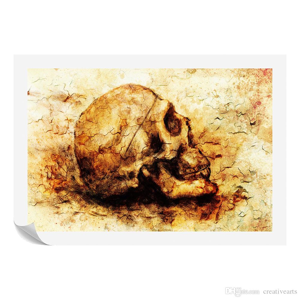 Skull Drawing Canvas Painting Human Bone Art Prints for Study Room ...