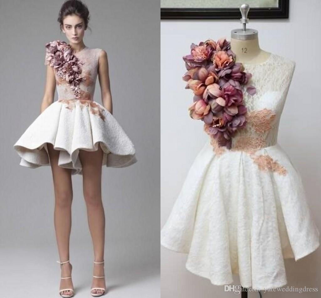 Sweety White Homecoming Dresses With Hand Made Flowers Jewel Prom