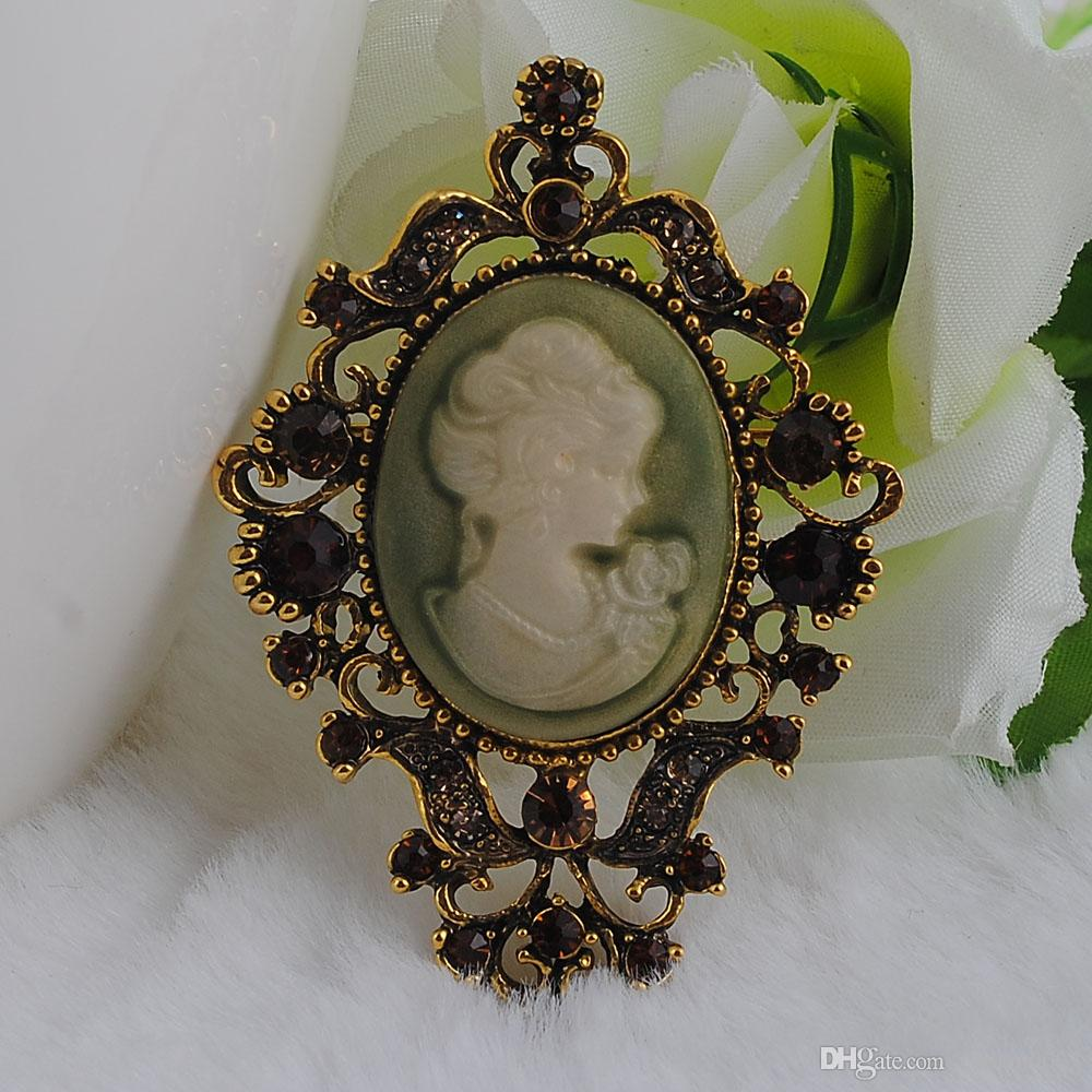 Retail!Clear Austriae Crystal Rhinestone Vintage Style Fashion Victorian Style Cameo Brooch Lady Scarf Brooch Pins Hot Selling