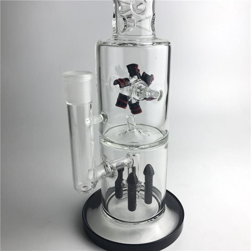 1,1 kg 15 pollici Bong in vetro con due strati Filtro Rocket Reflow Fan Big Thick Recyler Heady Vetro Beaker Bong Funny Smoking