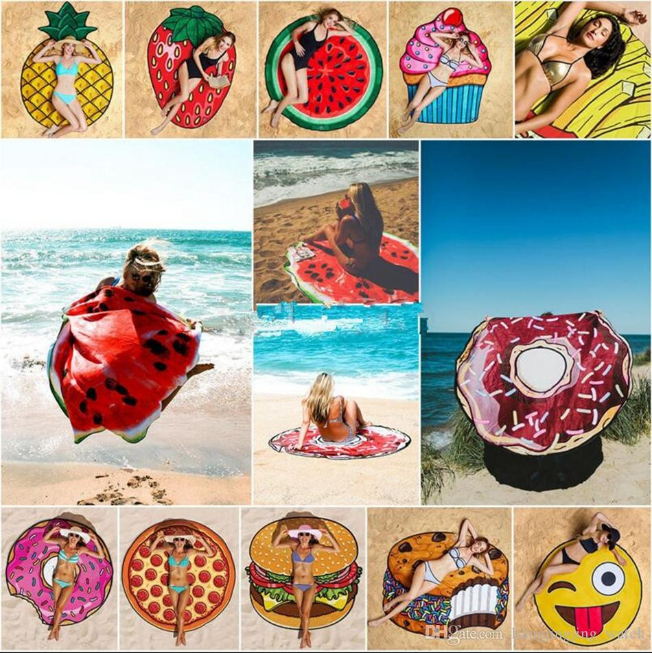 Summer Emoji Fruits Beach Towel 18 Styles Pizza Hamburger Donut ...