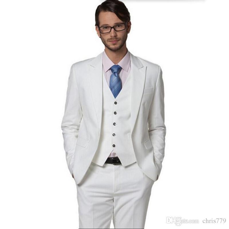 New Arrival Groom suits Tuxedos High Quality Groomsman Suit men Wedding Suit tuxedos white lapel one button prom dressjacket+vest+pants