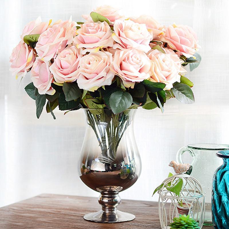 2018 10 Head French Rose Artificial Flower Bouquet Silk Flower Home ...