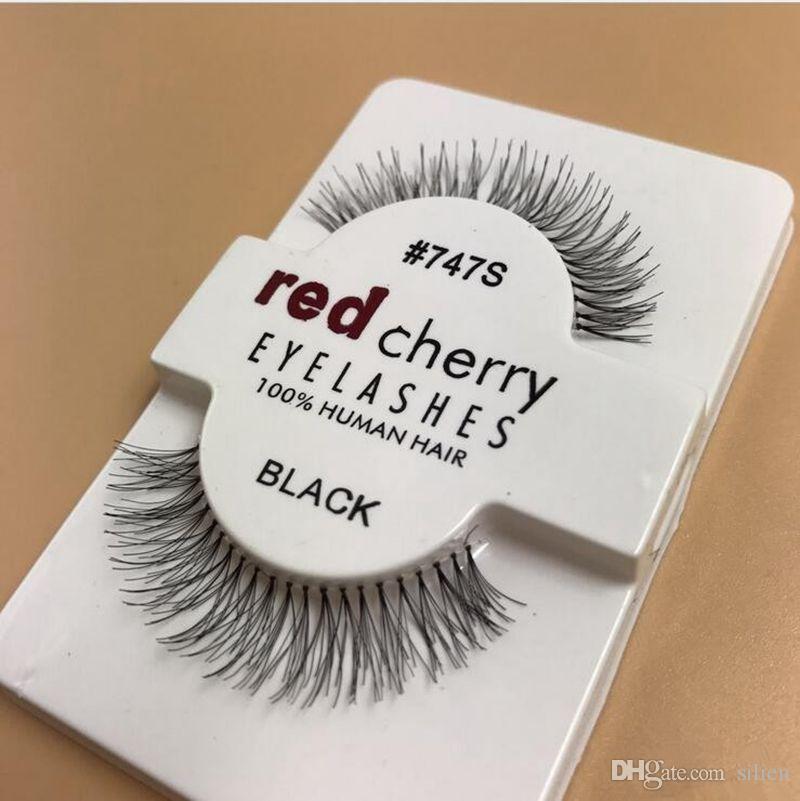 حار بيع 50 أزواج الأحمر الكرز الرموش الصناعية 100٪ اليدوية الشعر الشريط لاش وهمية رموش عين م