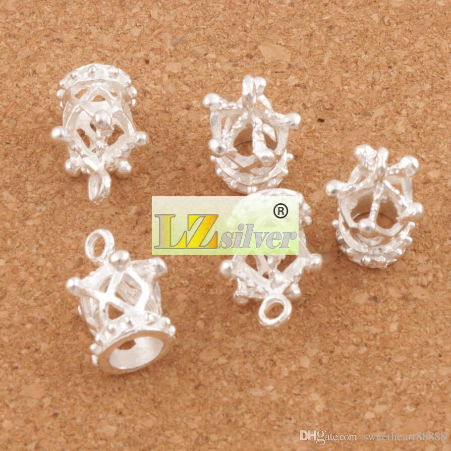 Verzilverd holle 3d keizerlijke kroon bedels 80 stks / partij 13x17mm hangers sieraden bevindingen componenten sieraden DIY L392