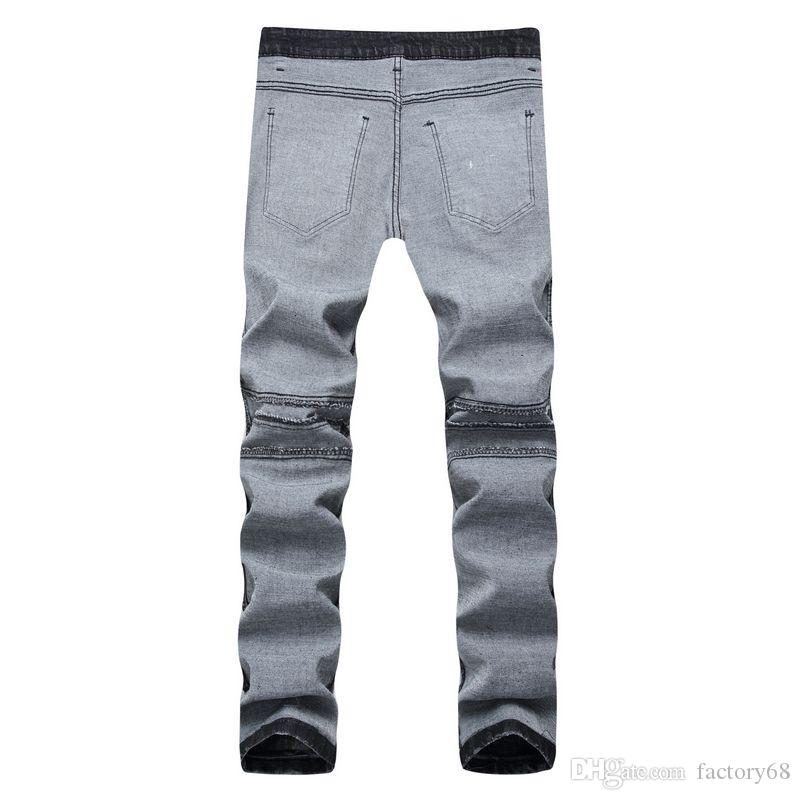 New Spring Grey Fashion Hole Jeans uomo pantaloni lunghi skinny jeans taglia 28-40