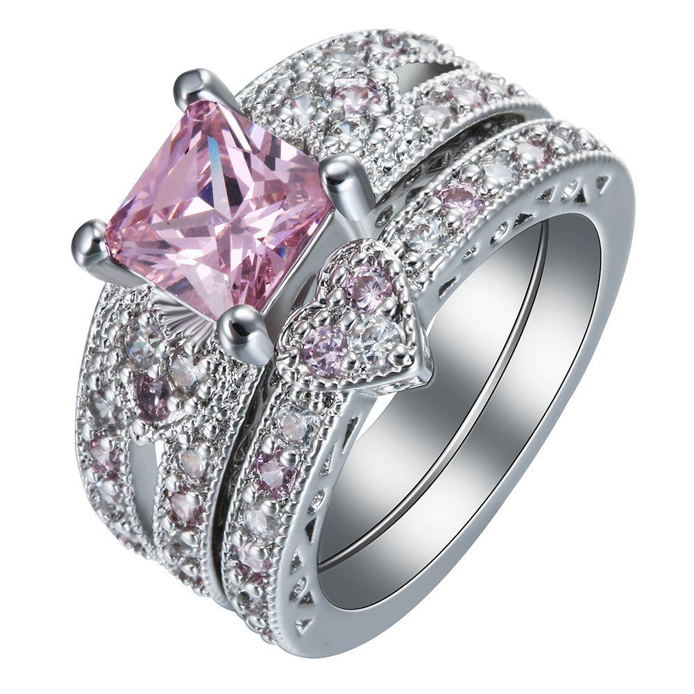 rings wedding shld with pink cz silver ring on heart s