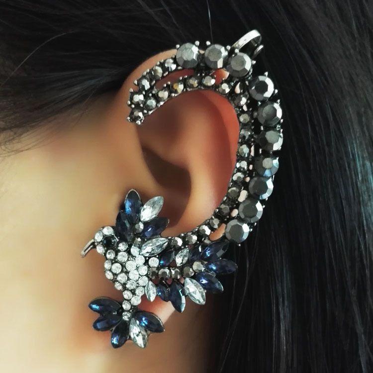 جميل الطيور إمرأة حجر الراين كريستال أقراط الأذن الأصفاد كليب على القرط pendientes earcuff الأذن صفعة غير خارقة أقراط مجوهرات