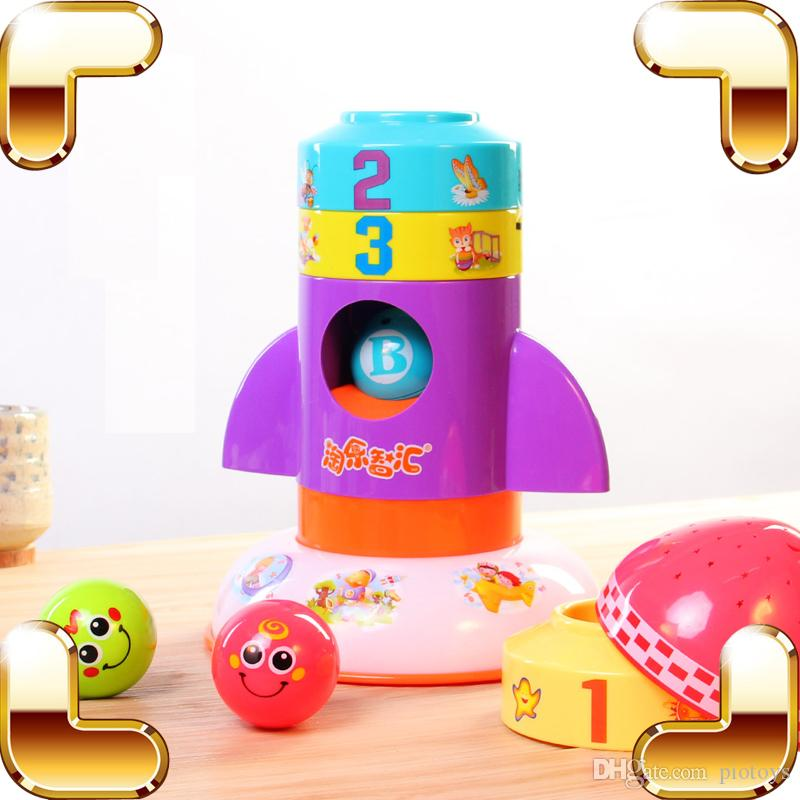 Children Day Gift Rocket Baby Block Toys Assemble Educational Game Fold Up Fun Kids Light Machine Enlightening Learning Present