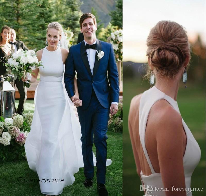 2017 Plain Simple Satin Backless Summer Wedding Dress Modern Sheath