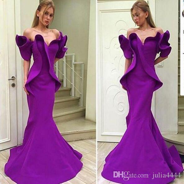 MNM couture Purple Organza Stain Dubai Árabe fuera del hombro vestidos de sirena Fiesta de noche Vestido de volantes Trompeta Sin respaldo Ocasión Vestido de fiesta